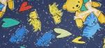 Rehastoff Bär / Katzen / Herzen, dunkelblau 002X2490