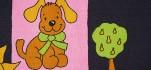 Rehastoff Hund/Sonne/Baum, dunkelblau/rosa 002X2550