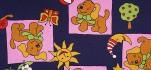 Rehastoff Hund/Sonne/Baum, dunkelblau/rosa, kaschiert 002X5317