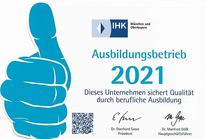 IHK Ausbildungsbetrieb 2021 - mah GmbH